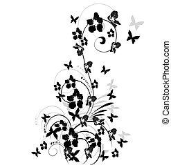 arbre, fleurs, papillons, illustration, fond, cerise, silhouette, blanc