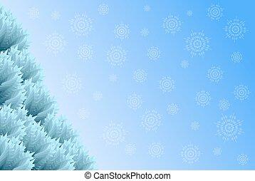 arbre, flocons neige, fond, noël