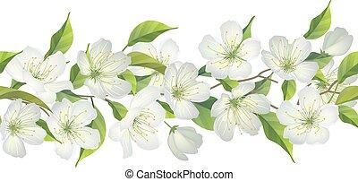 arbre, floraison, frontière, seamless