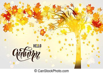 arbre, fond, automne