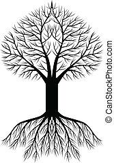 arbre, fond, silhouette
