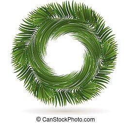 arbre, forme, paume, pousse feuilles, logo, cercle