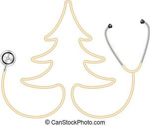 arbre, forme, stéthoscope