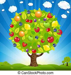 arbre fruitier, à, paysage