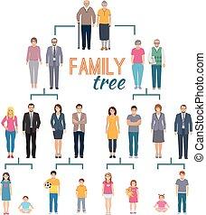arbre, généalogie, illustration