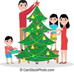 arbre généalogique, décore, vecteur, noël, heureux