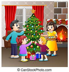 arbre généalogique, ensemble, décoration, noël, heureux