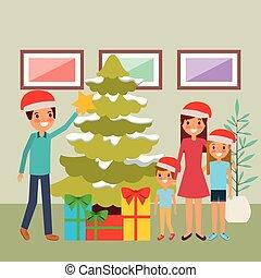 arbre généalogique, ensemble, dons, décorer, noël
