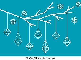 arbre, géométrique, vecteur, noël