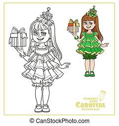 arbre, girl, couleur, esquissé, mignon, robe, nouveau, cadeau, coloration, page, année, main