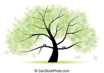 arbre, grand, vieux, ton, conception