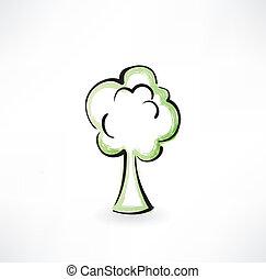 arbre, grunge, icône