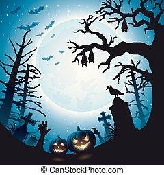 arbre, halloween, potirons, chauves-souris, fond, pendre