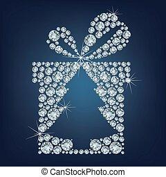 arbre, haut, diamants, ?hristmas, cadeau, fait, présent, lot
