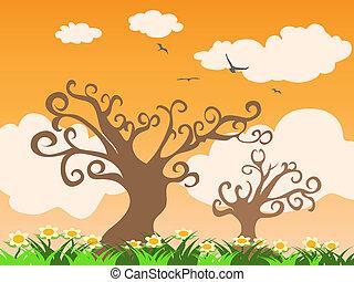 arbre, herbe, coucher soleil