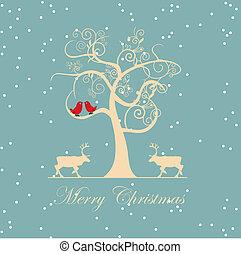 arbre hiver, à, oiseaux, vecteur