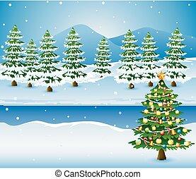 arbre hiver, arbres, pin, fond, décoré, noël