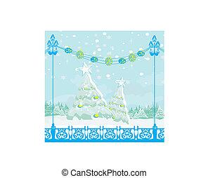 arbre hiver, carte, noël, paysage