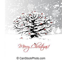 arbre hiver, conception, bullfinches, noël carte