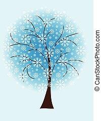 arbre hiver, depuis, flocons neige