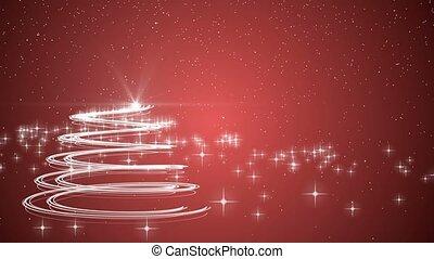 arbre hiver, neige, noël, arrière-plan animation, vacances, noël, rouges, célébration