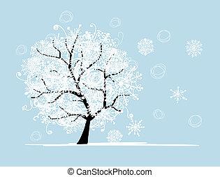 arbre hiver, pour, ton, design., noël, holiday.