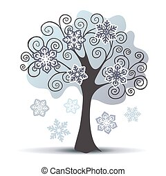 arbre hiver, quelques-uns, stylisé, vecteur, flocons neige