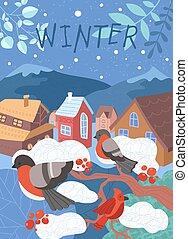 arbre hiver, scène, village, merles