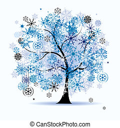 arbre hiver, snowflakes., noël, holiday.
