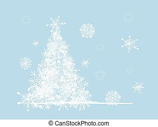 arbre hiver, ton, holiday., noël, design.
