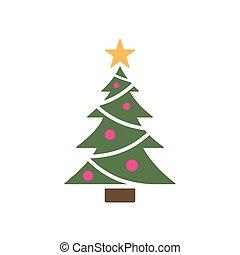 arbre, icône, étoile, isolé, noël