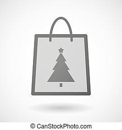 arbre, icône, achats, noël, sac