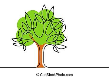 arbre, icône, vecteur, logo, stylisé