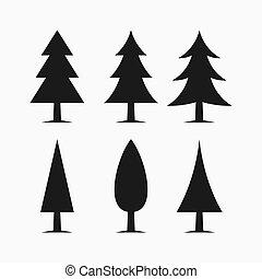 arbre, icônes, ensemble, vecteur, pin