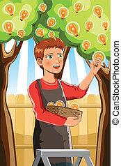 arbre, idée, récolte