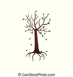 arbre, illustration, ambiant, vecteur, mort, fond, symblol, blanc, pollution