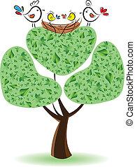 arbre, illustration, nestlings., oiseaux, vecteur