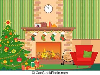 arbre, intérieur, nouveau, cheminée, mur, noël, vecteur, ...