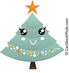 arbre, isolé, mignon, noël, mascotte, blanc