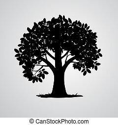 arbre, isolé, vecteur, arrière-plan noir, blanc