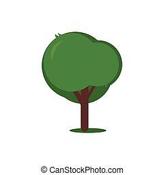 arbre, isolé, vecteur, fond, blanc