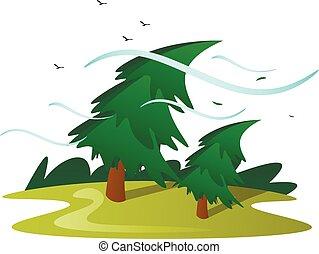 arbre, isolé, vent