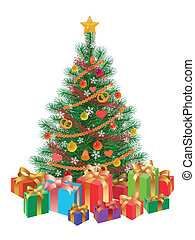 arbre, isolé, wirh, présente, décoré, noël