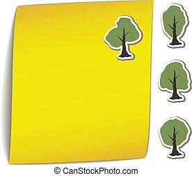 arbre, jaune, aimant, vecteur, papier, coude