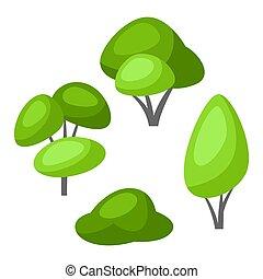 arbre, leaves., stylisé, ou, vert, printemps, été