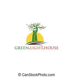 arbre, logo, phare