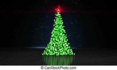 arbre, loopable, lumières, bokeh, animation, defocused, noël