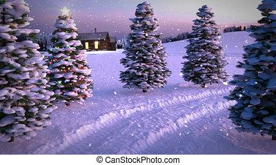 arbre., magie, hiver, render., seamless, scène, animation, coucher soleil, petite maison, noël, boucle, 3d