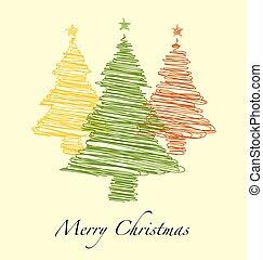 arbre, main, année, joyeux, nouveau, dessiné, noël, heureux