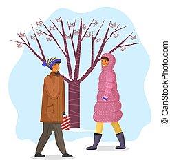 arbre, marche, neigeux, temps chaud, baies, hiver, femme, ...